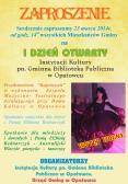Zaproszenie na I Dzień Otwarty Gminnej Instytucji Kultury